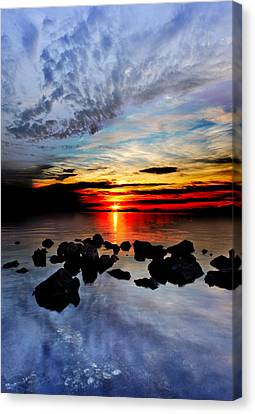 Canvas Print featuring the photograph Dark Red Sunset Reflection Transparent Blue Sea Black Clouds Art by Eszra
