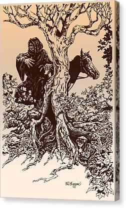 Dark Rider-tolkien Appreciation Canvas Print by Derrick Higgins