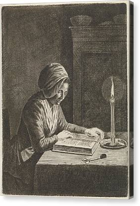 Dark Room With Woman Reading, Johannes Christiaan Janson Canvas Print by Johannes Christiaan Janson