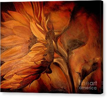 Canvas Print featuring the painting Dark Sunflower by Sorin Apostolescu