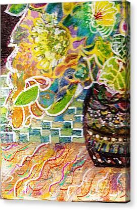 Dark Vase With Flowers On Table Canvas Print by Anne-Elizabeth Whiteway