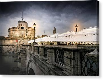 Dark Winter Evening At Castel Sant'angelo - Rome Canvas Print by Mark E Tisdale