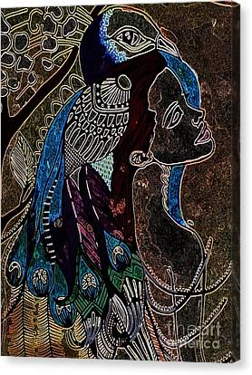 Darkside Peacock Woman Canvas Print by Amy Sorrell