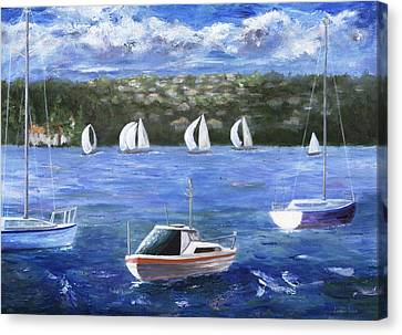 Canvas Print featuring the painting Darling Harbor by Jamie Frier