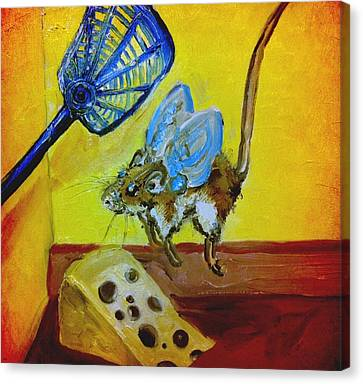 Darn Mouse Flies On Swiss Canvas Print