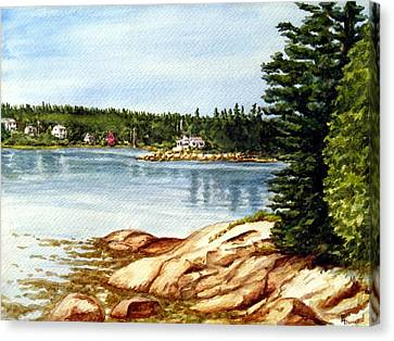 Rocky Maine Coast Canvas Print - Darrell Point On Spruce Head Island by Ric Darrell