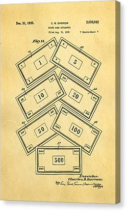 Darrow Monopoly Board Game 2 Patent Art 1935 Canvas Print