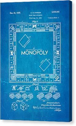 Darrow Monopoly Board Game Patent Art 1935 Blueprint Canvas Print by Ian Monk