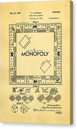 Darrow Monopoly Board Game Patent Art 1935 Canvas Print