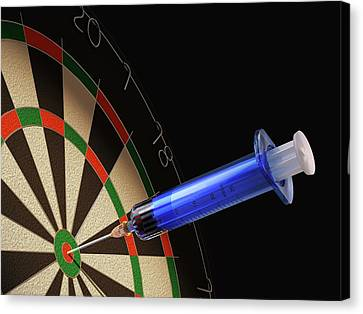 Dartboard And Medical Syringe Canvas Print by Leonello Calvetti