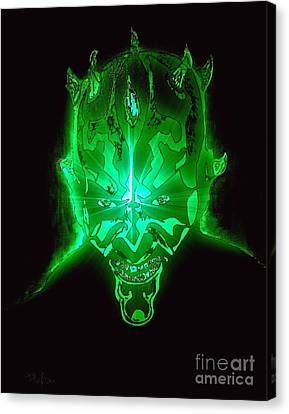 Darth Maul Green Glow Canvas Print by Saundra Myles