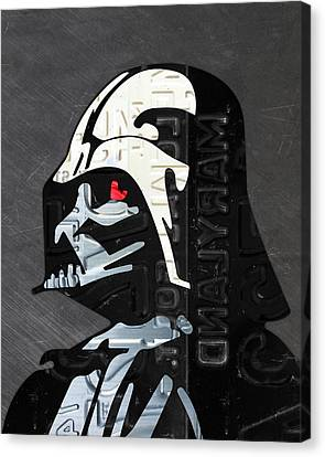 Darth Vader Helmet Star Wars Portrait Recycled License Plate Art Canvas Print by Design Turnpike