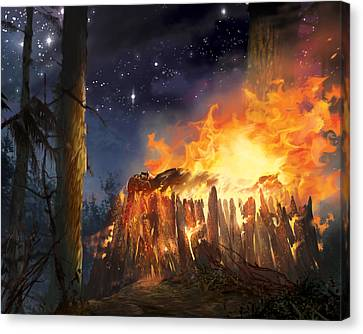 Darth Vader's Funeral Pyre Canvas Print by Ryan Barger