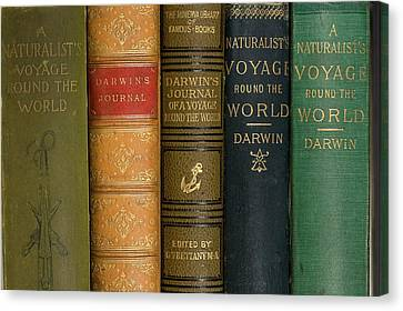 Edition Canvas Print - Darwin Voyages Of The Beagle Book Covers by Paul D Stewart