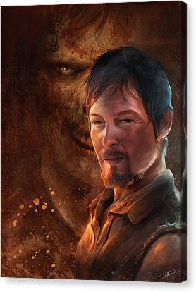 Canvas Print featuring the digital art Daryl by Steve Goad