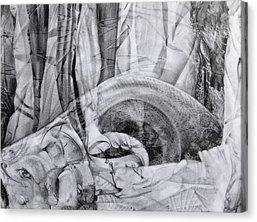 Canvas Print featuring the drawing Das Monster Hat Sich Im Ungebuegelten Hintergrund Versteckt by Otto Rapp