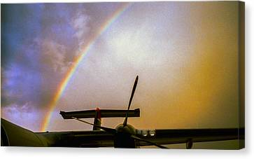 Dash 8 And Rainbow Canvas Print by Greg Reed