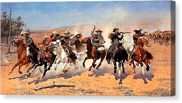 Dash For The Timber Canvas Print by Frederic Remington