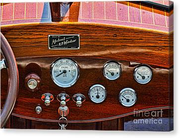 Dashboard In A Classic Wooden Boat Canvas Print by Les Palenik