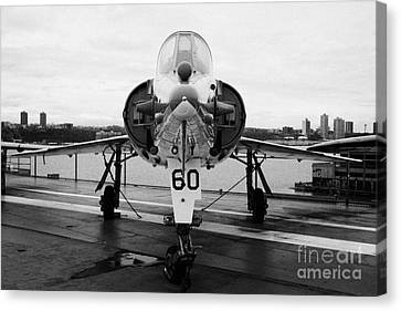 Dassault Etendard Iv M Ivm On Display On The Flight Deck At The Intrepid Sea Air Space Museum Canvas Print by Joe Fox