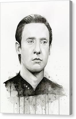 Data Portrait Star Trek Fan Art Watercolor Canvas Print by Olga Shvartsur