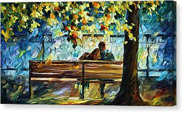 Date On The Bench Canvas Print by Leonid Afremov