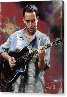 Canvas Print featuring the drawing Dave Matthews by Viola El