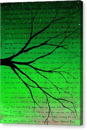 Dmb Canvas Print - Dave Matthews Band Crush Lyric Art - Green by Michelle Eshleman