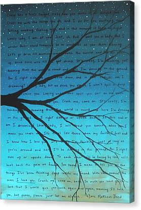 Dave Matthews Band Crush Lyric Art - Blue Canvas Print by Michelle Eshleman