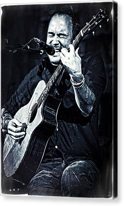 Dave Matthews On Acoustic Guitar In Blue And Black  Canvas Print by Jennifer Rondinelli Reilly - Fine Art Photography