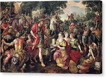 David And Abigail Or Alexander And The Family Of Darius Oil On Panel Canvas Print by Maarten de Vos