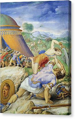 David And Goliath Canvas Print by Giorgio Giulio Clovio