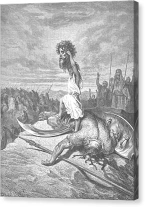 David And Goliath Canvas Print by Celestial Images