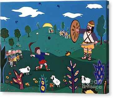 David And Goliath Canvas Print by Joyce Gebauer