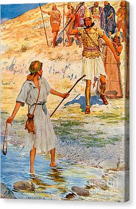David And Goliath Canvas Print by William Henry Margetson