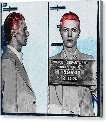 Arrest Canvas Print - David Bowie Mug Shot by Bill Cannon
