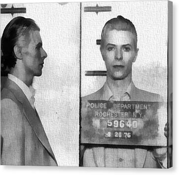 Famous Musician Canvas Print - David Bowie Mug Shot by Dan Sproul
