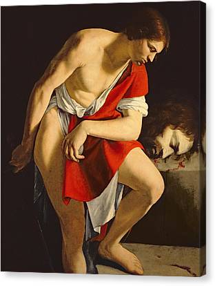 David Contemplating The Head Of Goliath Canvas Print by Orazio Gentileschi