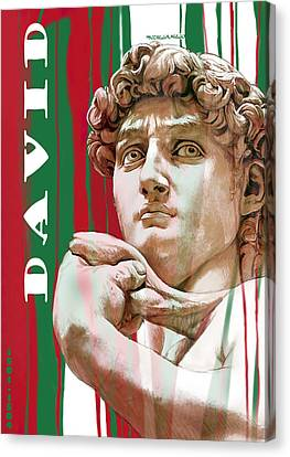 David - Michelangelo - Stylised Modern Drawing Art Sketch  Canvas Print by Kim Wang