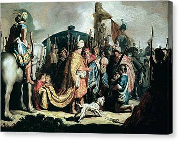 David Offering The Head Of Goliath To King Saul, 1627 Oil On Panel Canvas Print by Rembrandt Harmensz. van Rijn