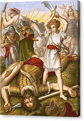 David Slaying Goliath Canvas Print by English School