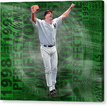David Wells Yankees Perfect Game 1998 Canvas Print by Tony Rubino