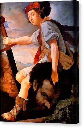 David And Goliath Canvas Print - David With The Head Of Goliath by Thomas Flatman