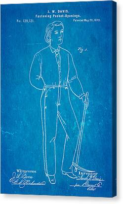 Davis Original Levi's Patent Art 1873 Blueprint Canvas Print by Ian Monk