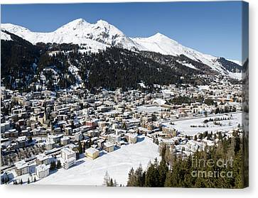 Davos Platz Mountains Parsenn And Town Canvas Print by Andy Smy