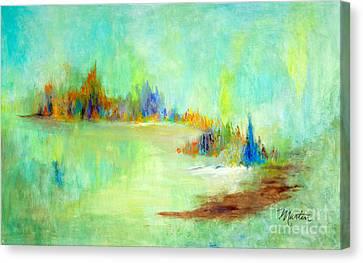 Dawn At Crystal Lake Canvas Print by Larry Martin