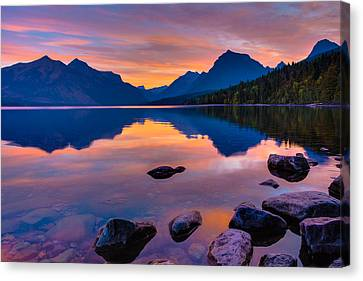 Dawn At Lake Mcdonald Canvas Print by Adam Mateo Fierro