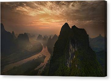 Dawn At Li River Canvas Print