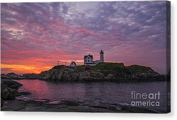 New England Lighthouse Canvas Print - Dawn At The Nubble by Steven Ralser