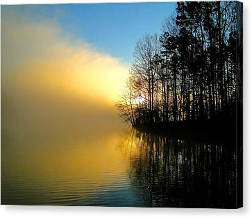 Dawn At Waters Edge Canvas Print by Cindy Croal